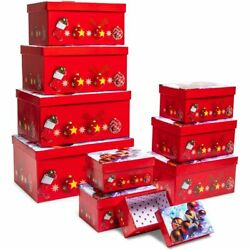 Christmas Nesting Gift Boxes With Lids 10 Sizes Red 10 Pack