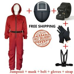 Squid Game Cosplay Costumes Halloween Outfits Red Jumpsuit Glove Strap Face Mask