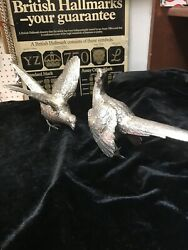 Antique Style Solid Silver Pr Of Pheasant Figurs By Bernard Brothers London 1972