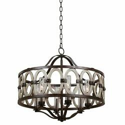 Kalco 404452 Belmont 6 Light 28w Taper Candle Drum Chandelier - Gold