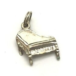 Vintage Oxidized Sterling Silver 925 Petite Etched Textured Piano Charm Pendant