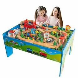 Train Table Toys,wooden Train Track Railway City Sets Table For Kids Toddlers