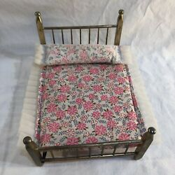 Vintage Antique Dollhouse Miniature Brass 4 Post Bed With Mattress And Pillow