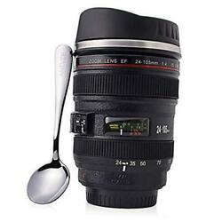 Camera Lens Coffee Mug With Spoon - Gifts For Photographers - 13.5 Oz