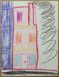 Cole Don Cole My House Californian 1978 Crayon Drawing