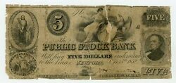 1852 5 The Public Stock Bank - Newport Indiana Note Haxby Plate Note