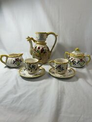 Rare Early Provincial Rooster And Roses Set Of Coffee/tea Pot Cup Saucers