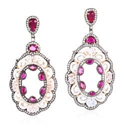 Oxidized 925 Silver Carved Shell Cameos Diamond And Ruby Drop/dangle Earrings