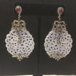Ruby Gemstone Carved Dangle Earrings 18k Gold 925 Silver Diamond Pave Jewelry