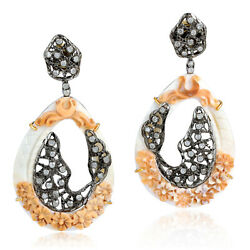 Prong Set Carved Shell Cameos Diamond Drop Dangle Earrings 925 Silver Jewelry