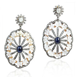 925 Silver Carved Shell Cameos Diamond Sapphire Drop/dangle Earrings For Her