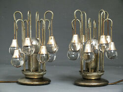 Sciolari Italy Production Set Two Vintage Space Desk Lamps Years 70 Glass