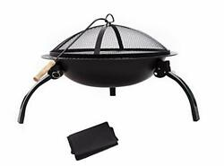 Taponukea Fire Pit Portable Fire Pits Outdoor Wood Burning 22andldquo Steel Bbq Grill S