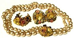 Miriam Haskel 3pc Set Vintage Horseshoe Pearl Yellow Heart R/s Signed A30