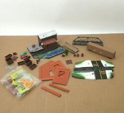 Vtg Ho Train Misc Part Pieces Lot Life-like Forest Lumber Scenery Rr Xing Bridge