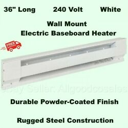 WALL MOUNT ELECTRIC BASEBOARD HEATER 36quot; White Room Radiant Heat 208V to 240V