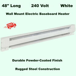 WALL MOUNT ELECTRIC BASEBOARD HEATER 48quot; White Room Radiant Heat 208V to 240V