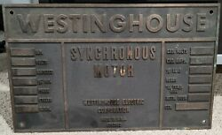 Vintage Heavy Brass Westinghouse Synchronous Motor Plate Plaque Sign