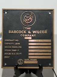 Vintage Babcock And Wilcox Co. Bandw Brass Plaque Plate Sign Steampunk Industrial