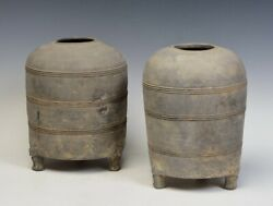 Han Dynastya Pair Of Antique Chinese Pottery Granary Jars With Bear-shaped Legs