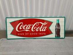 Vintage 1940and039s-1950and039s Coca Cola Andldquosign Of Good Tasteandrdquo Fishtail Metal Sign