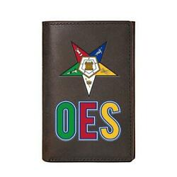Genuine Leather Oes Masonic Wallet And Credit Card Holder