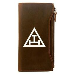 Royal Arch Genuine Leather Masonic Wallet And Credit Card Holder Zipper Brown