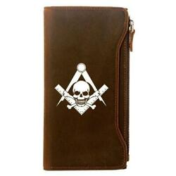 Widow's Son Genuine Leather Masonic Wallet And Credit Card Holder Zipper Brown