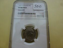 1937-d 3-legs Indian Head/buffalo Nickel - Ngc Vf Details - Cleaned 027