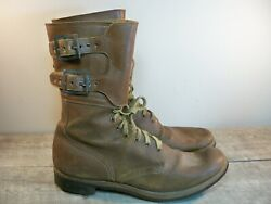Vintage Ww2 Wwii Us Army Double Buckle Service Combat Menand039s Leather Boots 10.5