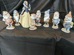 Lladro - Disney Snow White And 7 Dwarfs Figurines - Signed - Free Shipping