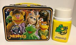 1979 Jim Henson Muppets Lunch Box And Kermit Thermos Bottle Fozzie Bear Vintage