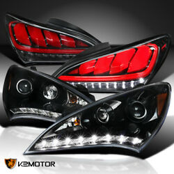 For Jet Black 2010-2012 Genesis Projector Headlights Led+sequential Tail Light