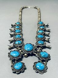Blue Thunder Turquoise Vintage Navajo Sterling Silver Squash Blossom Necklace