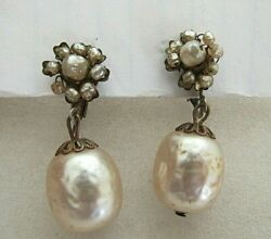 Vintage Signed Miriam Haskell Shimmery Pearl Dangle Clip On Earrings