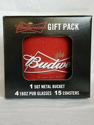 2007 Budweiser 20 Piece Gift Pack Includes 1 Metal Bucket 4 Glasses 15 Coasters