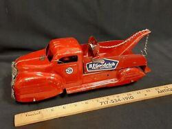 1950and039s Lincoln Toys B.f.goodrich Tow Truck Pressed Steel Toy - Original - Cdn