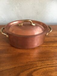 Williams Sonoma France Copper Oval Covered Casserole Roasting Stewpan And Lid