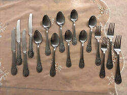 Cambridge Stainless Flatware Palm Trees Knives Spoons Forks 16 Total See Pics