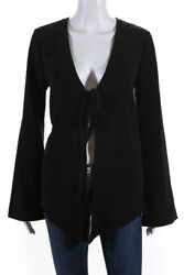 Elizabeth and James Womens Lace Up Dion Jacket Blouse Black Size Extra Small $32.99