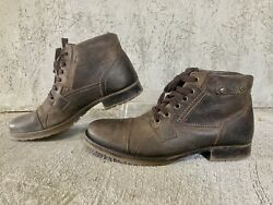 Bull Boxer Brosus Men#x27;s Chic Brown Distressed Leather Cap Toe Lace Up Boots Sz 8