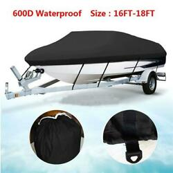 16-18ft 600d Oxford Fabric High Quality Waterproof Boat Cover With Storage Bag B