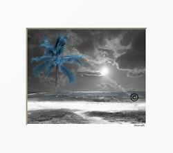 Black White Blue Palm Tree Beach Ocean Photography Bedroom Matted Artwork