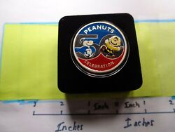 Snoopy Charlie Brown Enamel Peanuts 50th Anniversary Rare 999 Silver Coin Caseb
