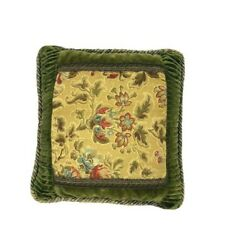 Vintage Luxury Down Feather Pillow Throw Green Gold Aubusson Custom Floral Print