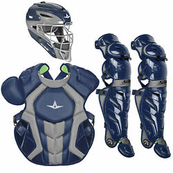 All-star System7 Axis Nocsae Adult Baseball Catcherand039s Package - Navy