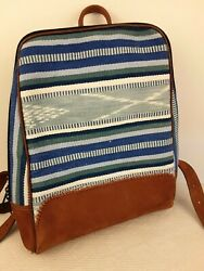 Quality Suede Leather Backpack Woven Tapestry Navajo Boho Bag Nwot
