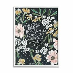 Stupell Industries Amazing Grace How Sweet Quote Blushing Spring Florals Desi...