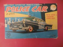 Vintage 1950's Line Mar Remote Control Battery Operated Police Car With Box