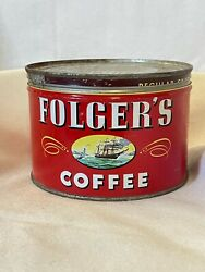 Antique Folgers Coffee - Vintage 1 Lb. Tin - Coffee Can - 1946